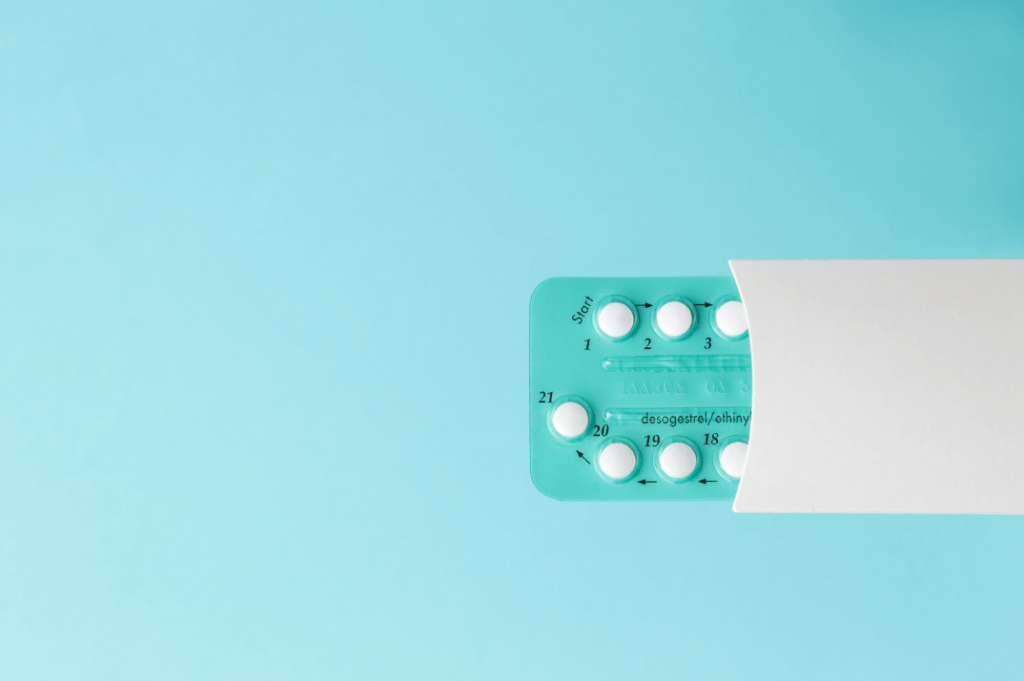 blue birth control pill pack