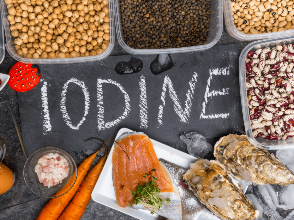 a spread of foods rich in iodine
