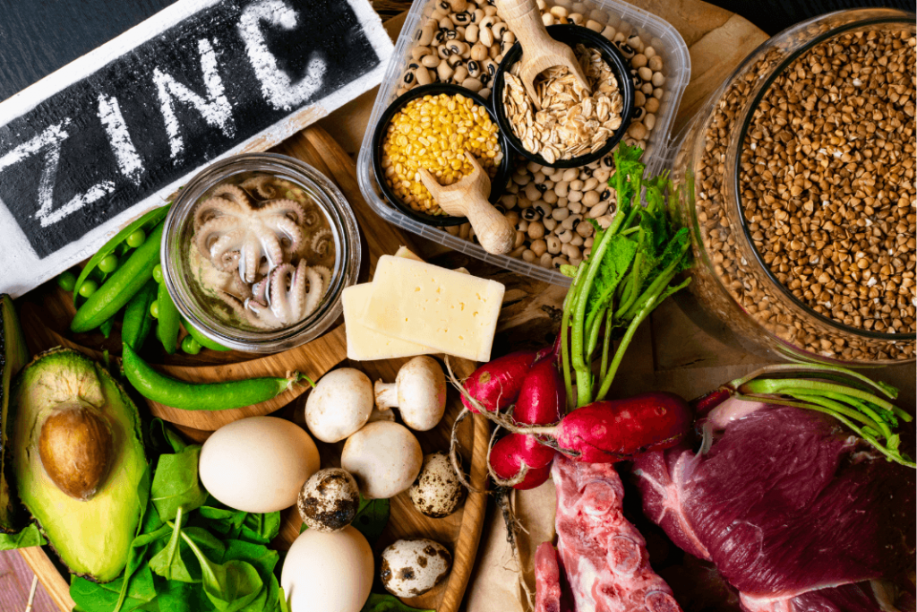 a spread of foods rich in zinc