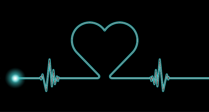 heart rate with heart shape blue on black background